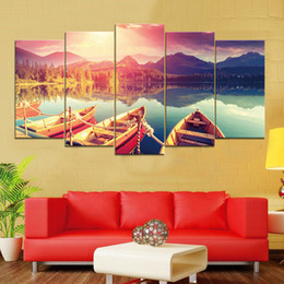 Wholesale canvas pier - Lake Boats Pier Mountains Trees Water Reflection Sunset Clouds Frameless Paintings 5pcs No Frame