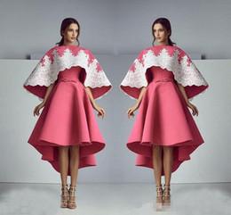 Wholesale Turquoise Short Dress Piece - Saiid Kobeisy 3D Lace Floral Evening ForaAshi Stual Dresses 2017 Modest Turquoise Peplum Ruffles Skirt Dubai Arabic Occasion Prom Dress Gown