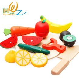 Wholesale Wooden Kitchen Play Set - Free shipping Children's kids wooden classic toy Kitchen Toys Set Fruits and vegetable cutting simulation play house