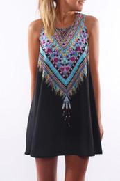 Wholesale black viscose dress - Large Size Summer Sleeveless Dress Hot Women Bohemian Beach O Neck A Line Mini Dress Sexy Women Vestidos Beach Wears