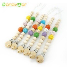 Wholesale Baby Gift Packing - Natural Pacifier Clips Gift Dummy Handmade Safe Wooden Pacifier Chain Holder Baby Nipple Feeding Garment Wooden Clip NZL06