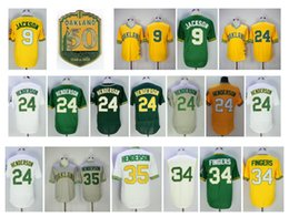 Wholesale Vintage Patches - Oakland Vintage 24 Ricky Henderson Jersey 9 Reggie Jackson 34 Rollie Fingers 35 Rickey Henderson With 50Th Patch Throwback Baseball Jerseys