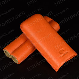 Wholesale Soft Production - Fiery best-selling style wholesale price exquisite production COHIBA Orange Soft Leather Cigar Case Holder 2 Tube with Fancy Gift Box