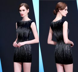 Wholesale Hip Cocktail Dresses - High-Quality Black Sexy Baggy Short hip Prom Dresses Round Neck Zipper New Handmade Beaded Party Cocktail Dresses HY094