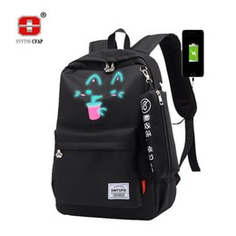 Luminous School Bags for Girls Teenage USB Female backpack schoolbag Teen  Large Capacity Black Women Back Pack 2018 high quality 570747d9cacb1