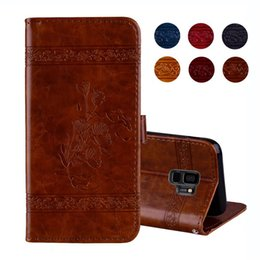 Wholesale Vintage Flower Iphone Cases - Restore Vintage PU Leather Wallet For Galaxy S9 Plus Case (A5 A7 A8 Plus) 2018 Cover Butterfly Flower Oil Magnetic Flip ID Card Slot Pouch