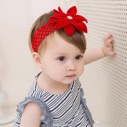 Wholesale pretty baby headbands - Baby Hollowed out red rose hair ribbon Flower Kids Elastic Cute Hairbands for Girls Pretty Headbands Infant Headbands KHA678