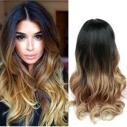 26 pulgadas de largo Ombre Brown Ash Blonde peluca sintética de alta densidad de temperatura para las mujeres negras / blancas sin cola pegajosa cosplay peluca de pelo desde fabricantes