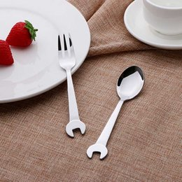 wholesales for cutlery Canada - Home Wrench Novelty Gift Tableware Metal Fork Spoon Travel Cutlery Cute Fork Picnic Set Gift for Child Dinnerware P0.2