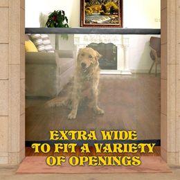 porta de entrada de proximidade Desconto Portão de cão The Ingenious Mesh Magia Pet Gate Para Cães Seguro Guarda e Instale Pet Dog Cerco de Segurança Cercas Do Cão