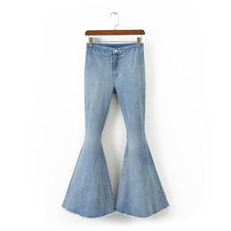 5b3d9ea40d1e6 women s high waist stretch jeans Female casual pants big feet jeans autumn  thin wide leg pants Women s big Denim Flare
