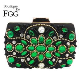 Bolsos de cuentas negro online-Boutique De FGG Vintage Black Green Women Beaded Bolso monedero de noche Boda Formal Cena Nupcial Rebordear Crystal Clutch Bolso