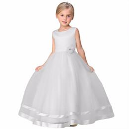 vestidos geométricos del boutique Rebajas 2018 Nueva ropa de verano para niños Niñas Vestidos de princesa Vestidos de bebé Color sólido Flor Barco Cuello Sin mangas para niños Vestido de una línea