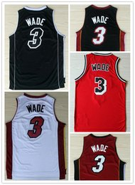 Wholesale Mix Shirt - Good Quality Retro Throwback Stitched Logo Dwayne Wade Men's Basketball Jerseys New 3 Dwayne Wade Shirt Mix Order 5 Color