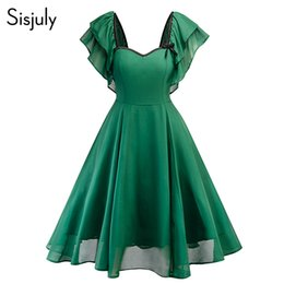 Sisjuly Women Summer Dress Solid Ruffle Sleeve Elegante A Line Retro Shot Abiti da festa Fashion 2018 Vintage Dress For Girl da abito da sposa glitter backless blu indietro fornitori
