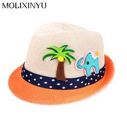 Sombrero de paja para bebé niño online-MOLIXINYU Verano Sombrero de Bebé Sombrero de Los Niños de Moda Para Niñas Niños Niños Sombrero Del Sol Bebés Casquillo de La Playa Paja Niños Jazz