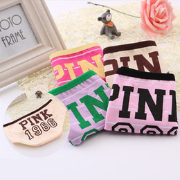 Wholesale size panties - Lady Sexy Panties Girls Women Cotton Underwear Pink Tanga Bragas Striped Briefs Cute Letter Calcinha one size