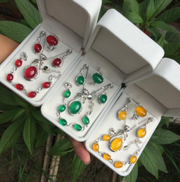 silberne armbänder ohrringe Rabatt Natürliche echte Halskette Halskette für Frauen vier Stück Anhänger Ohrring Ring Armband S925 Silber eingelegten Geschenk