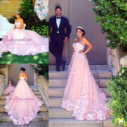 Wholesale Bridal Flowers Pictures - 2018 Pink Sweet 16 Princess Quinceanera Dresses Flowers Sweetheart Backless Masquerade Long Prom Dresses Arabic Bridal Gowns