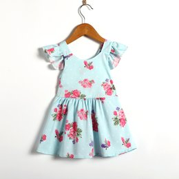Wholesale pageant outfits - Newborn Baby Girls Flower Tutu Dress Party Wedding Bow Pageant Dresses Outfits Clothes Casual Short Fly Sleeve Mid Dresses