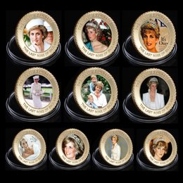 Wholesale Rose Ornament - WR The Last Rose of England Princess Diana 24k Gold Coin Collectible Metal Coins Art Ornament for Human Collection