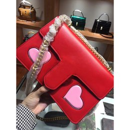 Wholesale Patchwork Heart Pattern - women chain crossbody bag shoulder bags leather handbags heart pattern blind for loved designer handbags high quality Italy purse bag 2018