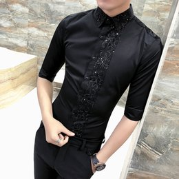 half collar shirts Promo Codes - High Quality Tuxedo Shirt Men Fashion 2018 Summer Slim Fit Casual Mens Shirts Half Sleeve Sexy Lace Patchwork Blouse Homme 3XL-M