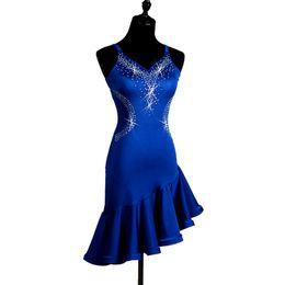 Vestidos de salsa para chicas online-Girls Latin Dance Dress Performance Blue Diamond Sin mangas Fishbone Dress Lady Women Tango Cha Cha Rumba Samba Salsa Competición Disfraz