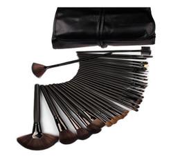 Wholesale Makeup Brushes 32pcs Pink - 32pcs set Professional Soft Cosmetic Eyebrow Shadow Makeup Brush Set Kit With Storage Case 25set