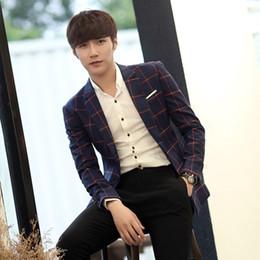 f636e9bc1 new Men's handsome fashion small suit jacket suits Plaid Dress Korean slim  men of England singer costumes
