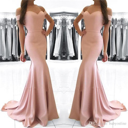 Wholesale cheap custom prom dresses - Cheap Blush Pink Mermaid Prom Dresses Long 2018 Off Shoulder Sexy Backless Floor Length Formal Dresses Evening Dresses robe de soiree