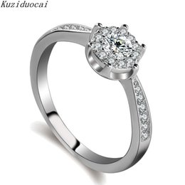 Wholesale r cluster - Kuziduocai 2018 New ! Fashion Fine Jewelry Stainless Steel Dense Inlaid Zircon Round Wedding Bride Rings For Women Gifts R-217