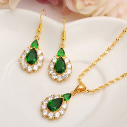Wholesale Gold Sapphire Earring - New 2018 Christmas Multicolor Red Green Blue Big Zircon Women Bridal Jewelry Set 14 k Fine Gold Filled Earring Stud Necklace Pendant