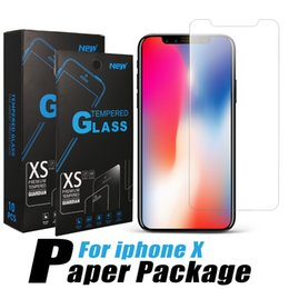 Wholesale Wholesale Glass Packaging - For iPhone X 8 Tempered Glass Anti-Scratch Screen Protector For iPhone 7 Plus 0.26mm Screen Protector High Definition 2.5D 9H Paper Package