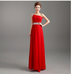 Wholesale Fashion Line Bridesmaid Dresses - Beaded Long Chiffon Evening Dresses Black Red One Shoulder Bridesmaid Dresses New Floor Length Prom Gown