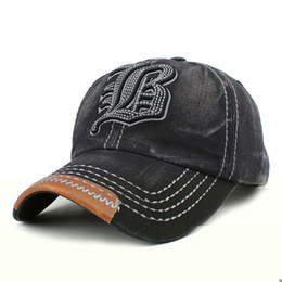 Wholesale custom embroidery snapback hats - Cotton Embroidery Letter Baseball Cap Snapback Caps Bone Casquette Hat Distressed Wearing Fitted Hat For Men Custom Hats