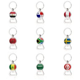 Wholesale Gift Football World Cup - Russia World Cup 2018 Football beer Bottle Opener Keychains Key Rings with Flag Car Key holder Soccer Fans Men Fashion Gifts CCA8840 50pcs