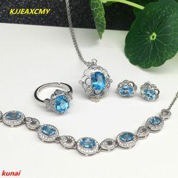 4476e0d8e679 Joyas KJJEAXCMY 925 plata esterlina con topacio azul natural brillante  anillo pendientes pendientes pulsera 4 traje joyería neckla