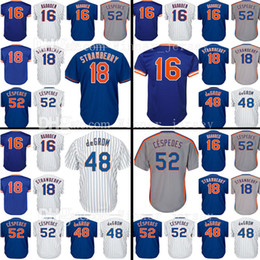 Wholesale Purple Strawberries - Mens 52 Cespedes Majestic 48 Jacob deGrom Baseball Jerseys 16 Dwight Gooden 18 Darryl Strawberry Jersey