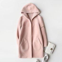 Wholesale Button Sheep - Wholesale-Lamb fur coat long overcoat genuine sheep wool sheared outerwear hoodedcoat 2017 women's imported Australian wool jackets