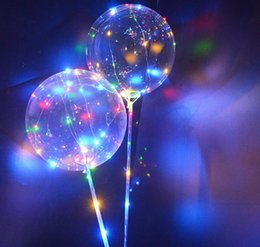 Wholesale Bright Party Supplies - Stock Luminous LED Latex Balloons With Stick Giant Bright Balloon Kids Toy Festival Party Supplies Birthday Party Wedding Decorations