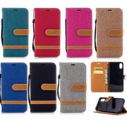2019 portefeuille iphone denim Jeans Denim Canvas Card Wallet Flip Housse en cuir pour iPhone XR XS Max X 8 7 Plus Samsung S8 S9 S10 Plus promotion portefeuille iphone denim