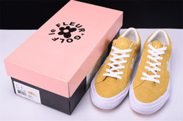 Wholesale Yellow Hip Hop Shoes - 2018 Conversed Tyler The Creator X Conve One Star X Golf Le Fleur TTC Solar Yellow Sneakers Trainers Shoes Canvas Shoes for Hip Hop with Box