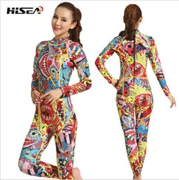 Wholesale Clothes Printing Equipment - printing Jumpsuit 3mm women neoprene wetsuit color Snorkeling stitching Surf Diving Equipment Jellyfish clothing long sleeved piece fitted