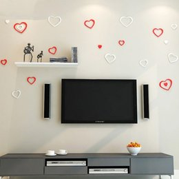 Wholesale Decorative Wall Stickers Removable - Creative Wooden Wall Stickers 3D Love Heart Shape Sticker Anti Static Removable Decorative Paster Top Quality 3 6yj B