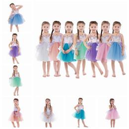 Wholesale Princess Ball Gown Dress Cake - Girl Dress 2018 New Unicorn Embroidery Beading Gauze Princess Dress Children Clothes 7 Colors Girls Kids Lace Cake Party Dress A8656