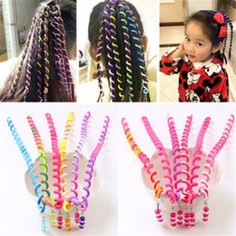 Wholesale Hair Weaving Tools - 6 Color Girls Hair Twist DIY Tool Stylish Hair Accessories with Beads Multicolor kids fashion curly woven belt hair band B11