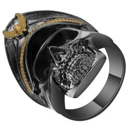 Wholesale Pirate Bands - whole saleDevil Black Gun Color Pirates Skull Ring For Men New Punk Skeleton Wedding Bands Party Cocktail Finger Ring Vintage Anelli Uomo