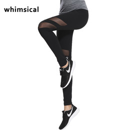 Wholesale Quick Nets - Whimsical Women Yoga Pants Hollow Out Net Yarn Splicing Yoga Capris for Running Sport Quick-drying Fitness Tights Woman Legging