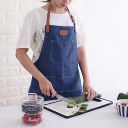 Restaurant kellner uniformen online-Simple Design Denim Schürze - Unisex Chefkoch Restaurant Barista Arbeitsschürzen Tablier - Cafe Server Kellner Uniform